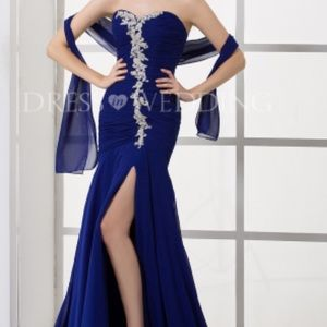 Dresses & Skirts - Mermaid sweetheart royalblue long pleated dress
